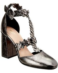 RED Valentino Leather Sandal - Gray