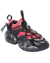 Jimmy Choo Diamond Trail/f Leather & Mesh Trainer - Black