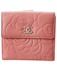 Chanel Pink Lambskin Leather Camellia Compact Wallet