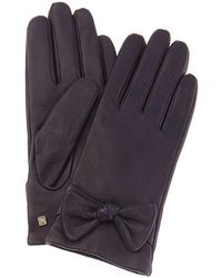 Bruno Magli Knotted Bow Cashmere-lined Leather Gloves - Blue