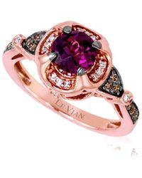Le Vian 14k Rose Gold 1.16 Ct. Tw. Diamond & Rhodolite Ring - Multicolour