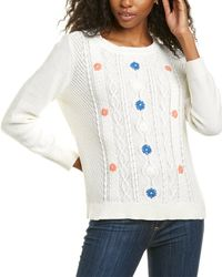 Cece By Cynthia Steffe Textured Stitch Embroidered Sweat - White