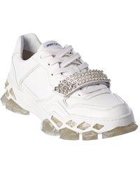 Jimmy Choo Diamond X Strap/m Leather Trainer - White