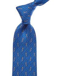 Ferragamo - Blue Giraffe Silk Tie - Lyst
