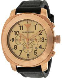 Emporio Armani Men's Leather Watch - Metallic