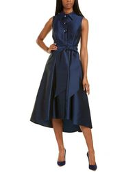 Teri Jon By Rickie Freeman Belted Silk-blend Midi Dress - Blue