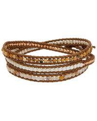Chan Luu - Rose Gold Over Silver Gemstone Leather Wrap Bracelet - Lyst