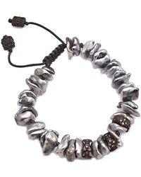 Armenta - Old World Silver 0.29 Ct. Tw. Diamond & 3-5mm Keshi Pearl Bracelet - Lyst
