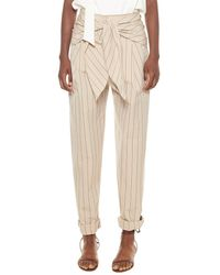 Tibi Tropical Stripe Suiting Sculpted Wool Pleat Pant - Natural