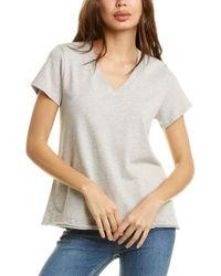 Wilt V-neck Raw Back Band T-shirt - Grey