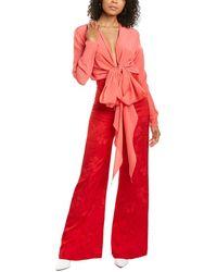 Silvia Tcherassi Kalamary Silk-blend Jumpsuit - Red