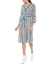 French Connection Multi Stripe V Neck 3/4-sleeve Dress - Blue