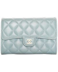 Chanel Blue Quilted Leather Medium Flap Wallet