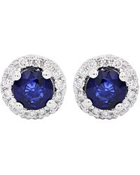 Diana M. Jewels . Fine Jewellery 14k 0.98 Ct. Tw. Diamond & Sapphire Studs - Blue