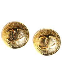 Chanel Gold-tone Cc Medallion Clip-on Earrings - Metallic