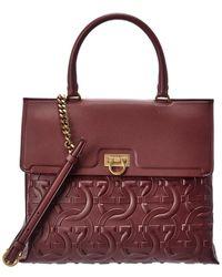 Ferragamo Trifolio Top Handle Medium Leather Satchel - Red