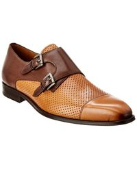 Mezlan Rocky Double Monk Leather Loafer - Brown