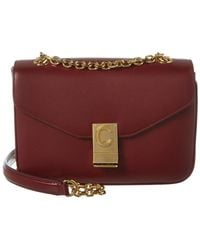 Céline Medium C Leather Shoulder Bag - Red