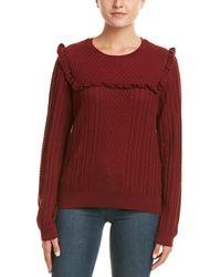 Duffy Ruffle Trim Wool-blend Jumper - Red