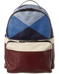 Valentino Colorblock Leather Backpack - Blue