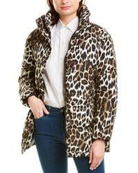 Via Spiga Leopard Short Puffer Jacket - Brown