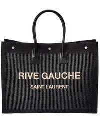 Saint Laurent Rive Gauche Raffia & Leather Tote - Black