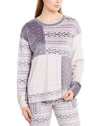 Kensie Patchwork Knit Long Sleeve Pajama Top - Gray