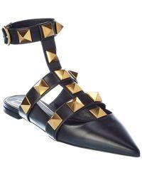 Valentino Valentino Garavani Roman Stud Leather Ankle Strap Flat - Black