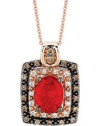 Le Vian - ? 14k Rose Gold 1.27 Ct. Tw. Diamond & Fire Opal Necklace - Lyst