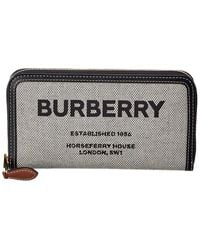 Burberry Horseferry Canvas & Leather Zip Around Wallet - Black