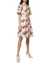 Adam Lippes Print Belted Shirt Dress - Multicolor