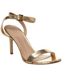Tory Burch Elana Crackle Leather Ankle Strap Sandal - Metallic