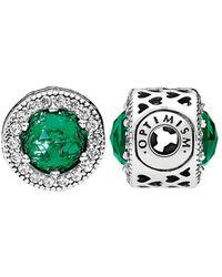 PANDORA Essence Collection Silver Cz & Green Crystal Optimism Charm