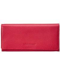 Longchamp Le Foulonne Leather Continental Wallet - Pink