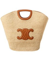 Celine Straw & Leather Tote - Brown
