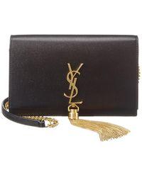Saint Laurent Kate Tassel Leather Wallet On Chain - Black
