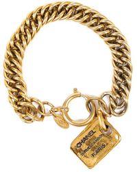 Chanel Gold-tone Rue Cambon Curb Chain Bracelet - Metallic