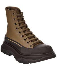 Alexander McQueen Tread Slick Leather Boot - Brown