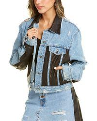 Amiri Denim & Leather Trucker Jacket - Blue