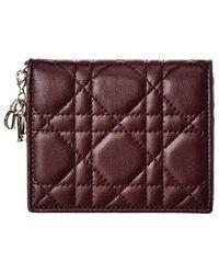 Dior Mini Lady Leather Card Holder - Purple