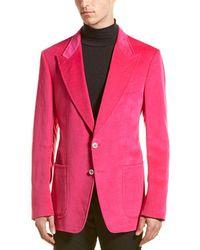 Tom Ford Velvet Linen-blend Blazer - Pink