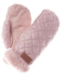 UGG Quilted Leather Performance Mittens - Pink