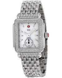 Michele Deco White Pearl Diamond Bezel Ladies Watch - Metallic