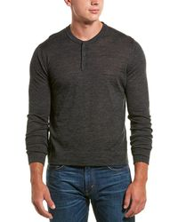 Vince Rib Trim Wool Henley Top - Gray