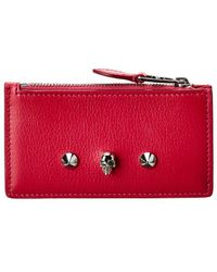 Alexander McQueen Skull Leather Zipped Pouch - Red
