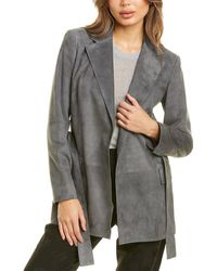 Theory Small Belted Leather Blazer - Grey