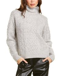 Vince Cable-knit Wool-blend Sweater - Gray