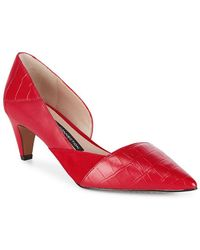 French Connection Tessi Red Konelli Mixed Media Pointed Toe D'Orsay Court Shoes