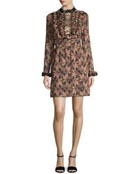 Anna Sui - Deco Dotted Flower Flared Dress - Lyst