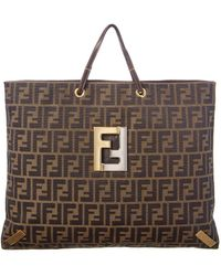 415d5cc57b0 Lyst - Fendi Zucca Pattern Logos Tote Bag Canvas Italy Vintage ...